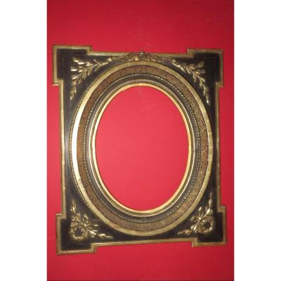 Oval Frame, Napoleon III, 19th Time, In Black And Gold Wood.