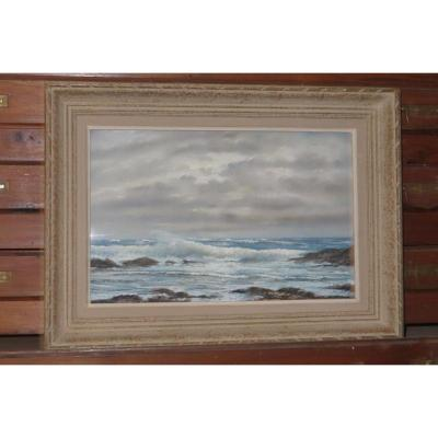 Pastel Seaside Landscape Signed Eugène Sanamaud, Period Mid 20 Th.