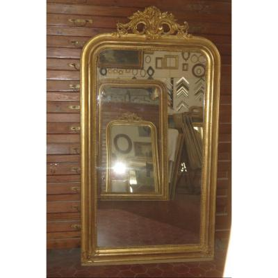 Louis Philippe Mirror, With Fronton, 19th Time, In Golden Wood.