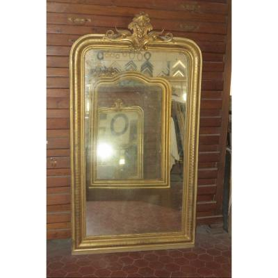 Miroir Louis Philippe, avec fronton,  époque 19ème, En Bois Doré.