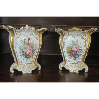 Pair Of Bridal Vases, Porcelain, Late 19th Time.