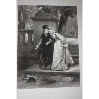 """""""le S Carpes"""", Chateau De Fontainebleau, 19th Century Etching."""