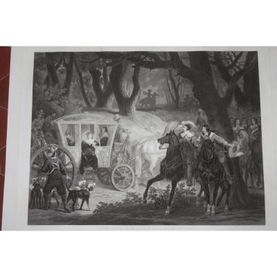 Five Mars Or Favorite Of King Louis XIII; At La Chasse Royale, 19th Century Etching.