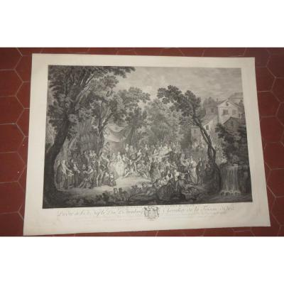 """the Signing Of The Village Wedding Contract"", 19th Century Etching."