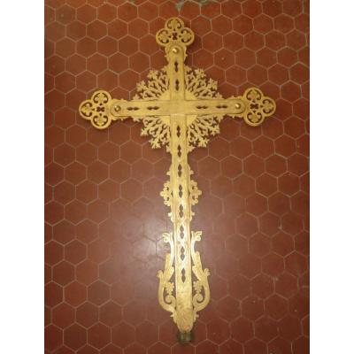 Large Processional Cross In Golden Wood, Early 19th Time.