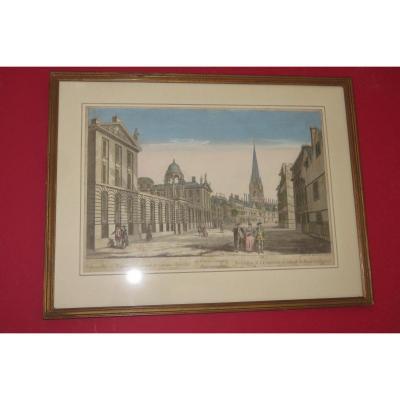 """""""Le Collège de l'Université à Oxford"""", vue d'optique époque 18ème."""