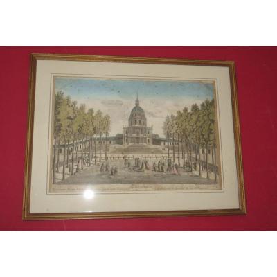 """"""" L'hôtel Royal des Invalides, à Paris, du côté de Vaugirards"""",  vue d'optique époque 18ème."""