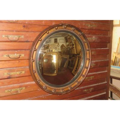 Grand Miroir Sorcière,  en bois doré,  époque Début 20 ème.