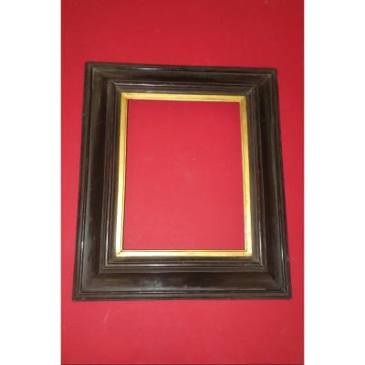 Napoleon III Frame, 19th Time, In Black And Gold Wood.