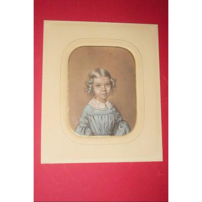 Dessin d'Une Jeune écolière, époque 19ème.