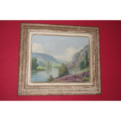 Landscape In The Spirit Of The Crozant School, Early 20th Century Table.