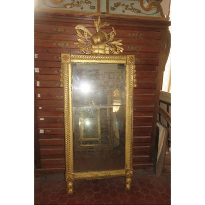 Miroir époque 18ème, Louis XVI En Bois Doré.
