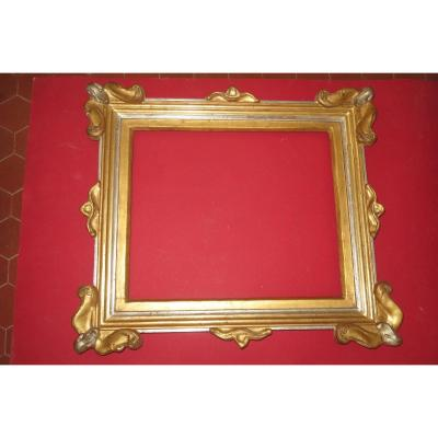 Frame Art Nouveau, Early 20th, In Golden And Silver Wood.