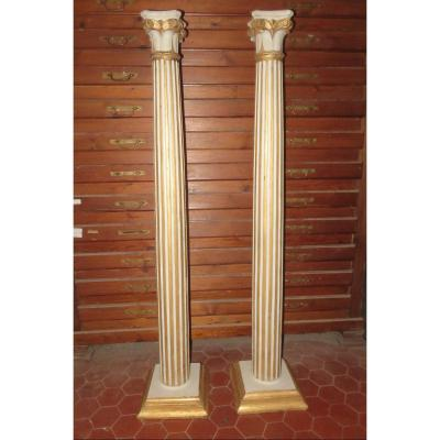 Pair Of Columns In Painted And Gilded Wood, 19th Time.