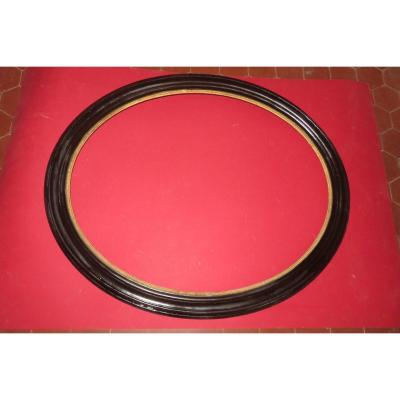 Oval Frame In Black And Gold Wood, 19th Time, Napoleon III.