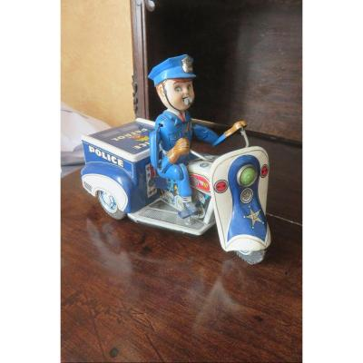Police Motorcycle, Toy With Mechanism, Early 20th Century.