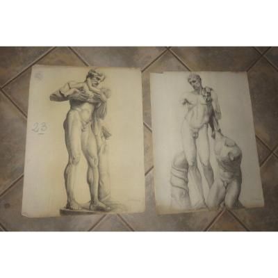 Two Large Drawings Of Nudes From The Early 20th Century.