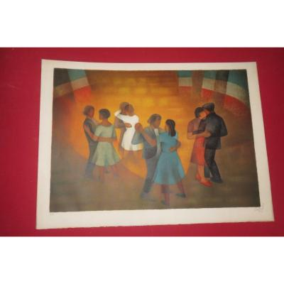 Very beautiful original lithograph representing the ball of July 14th. Signed Louis Toffoli (1907-1999). It is an Artist's proof (see photo). Period 20 th. - Dimensions: 76 x 56 cms.