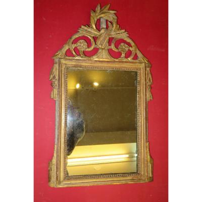 Pediment Mirror, 18th Time, Louis XVI, In Golden Wood.