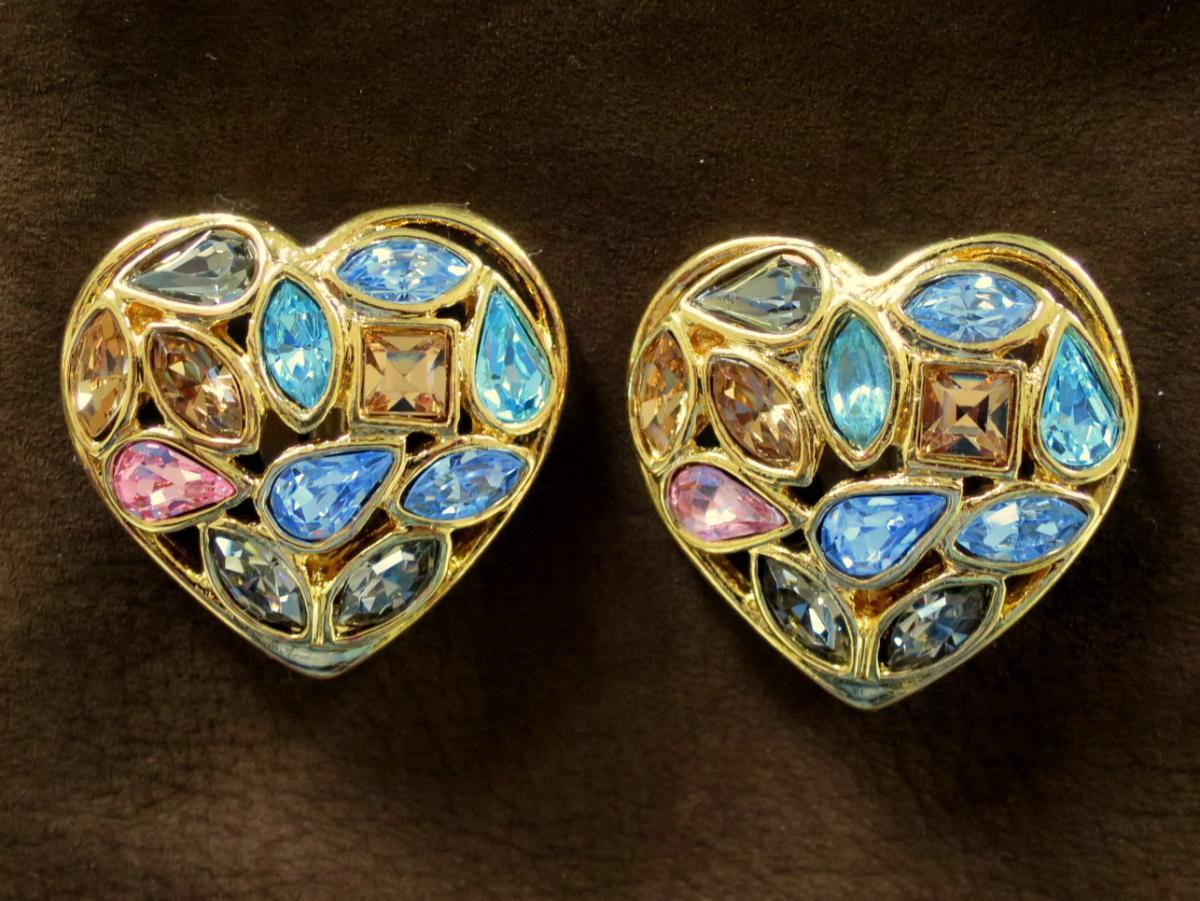 Yves Saint Laurent Heart Earrings With Clips, Dorées, By Robert Goossens
