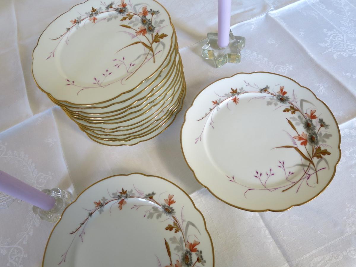 Hand Painted Porcelain Dessert Set With Flower Decor