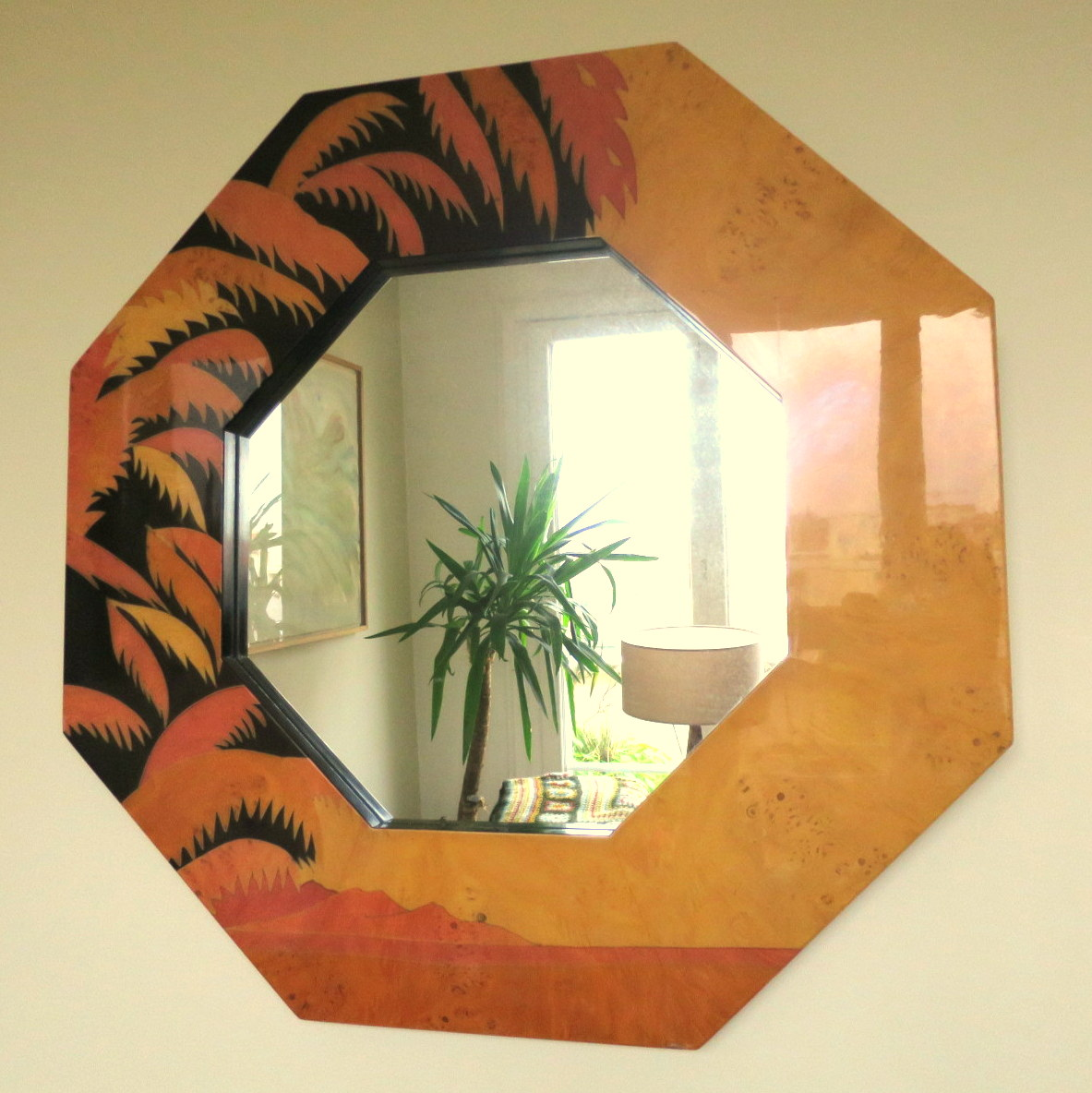 Octagonal Mirror, 1980s Palm Decor