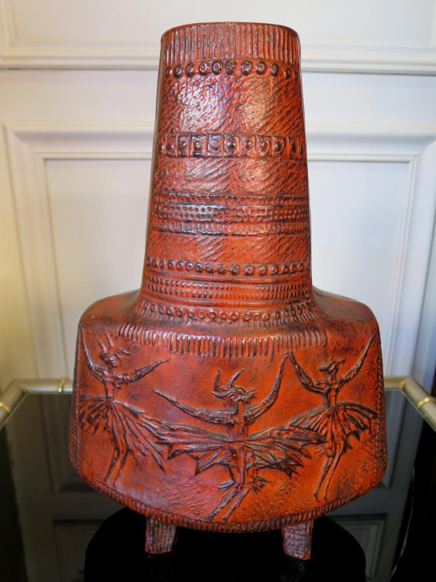 Vase des années 60 à décor africaniste