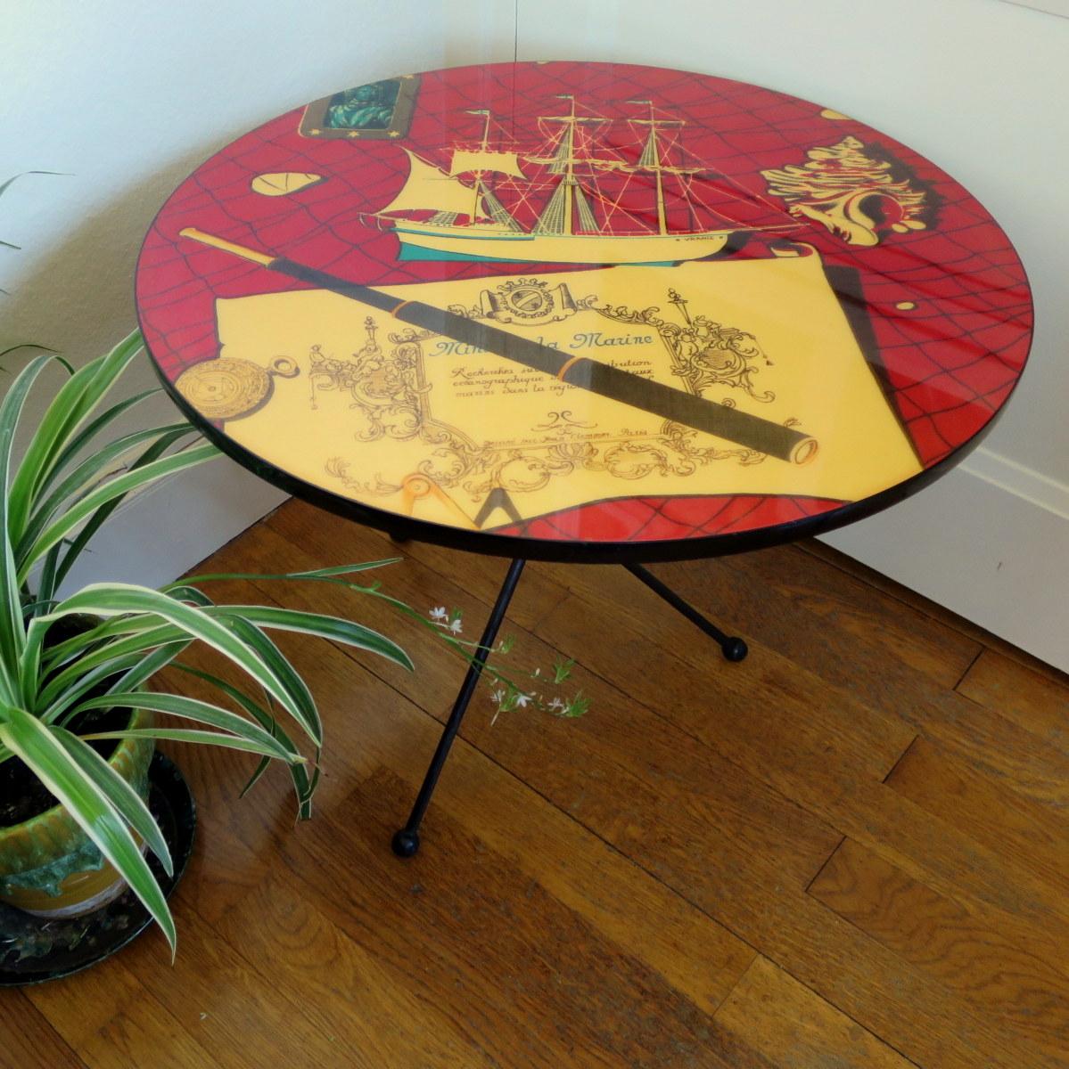 """Guéridon, table basse style """"Fornasetti"""", années 50"""