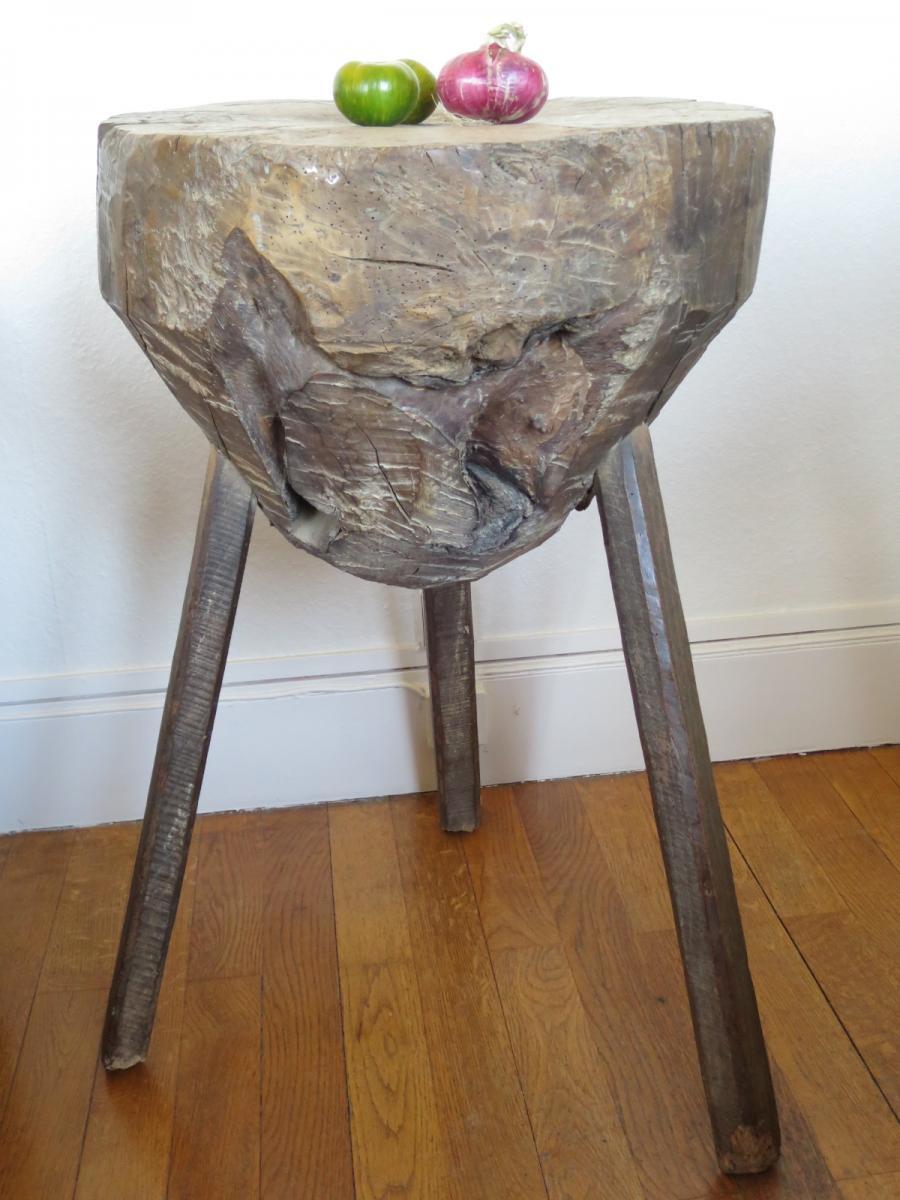 Guéridon primitif, meuble de métier début XX°