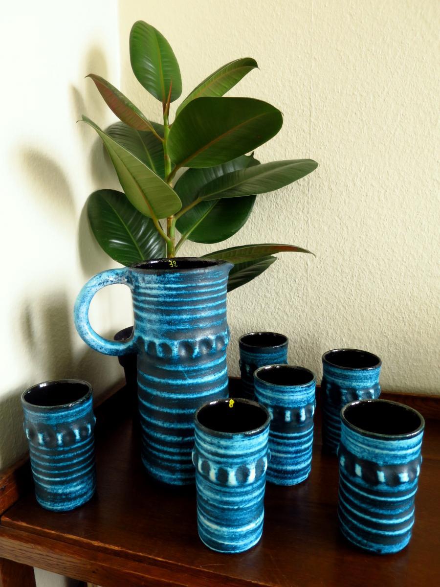Service à orangeade en céramique d'Accolay bleu turquoise, 1950