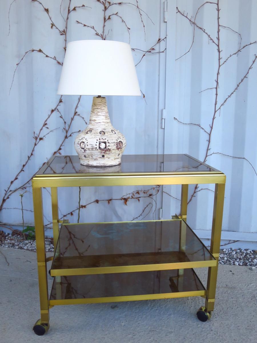 Desserte roulante, 3 plateaux, métal doré vers 1960