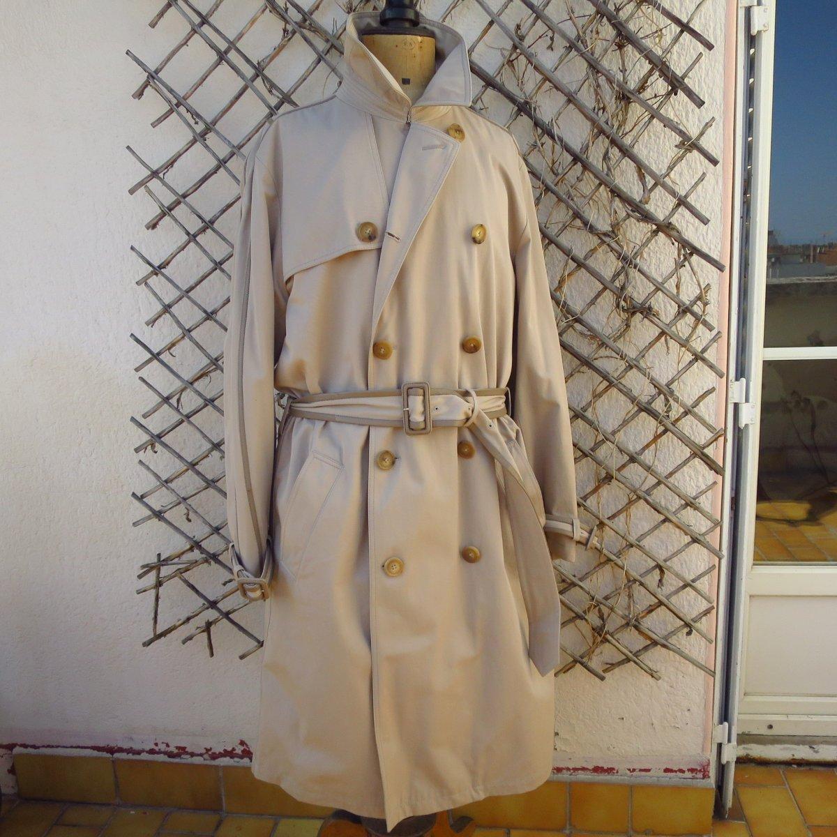 Trench, imperméable Hermès Paris en coton et cuir beige