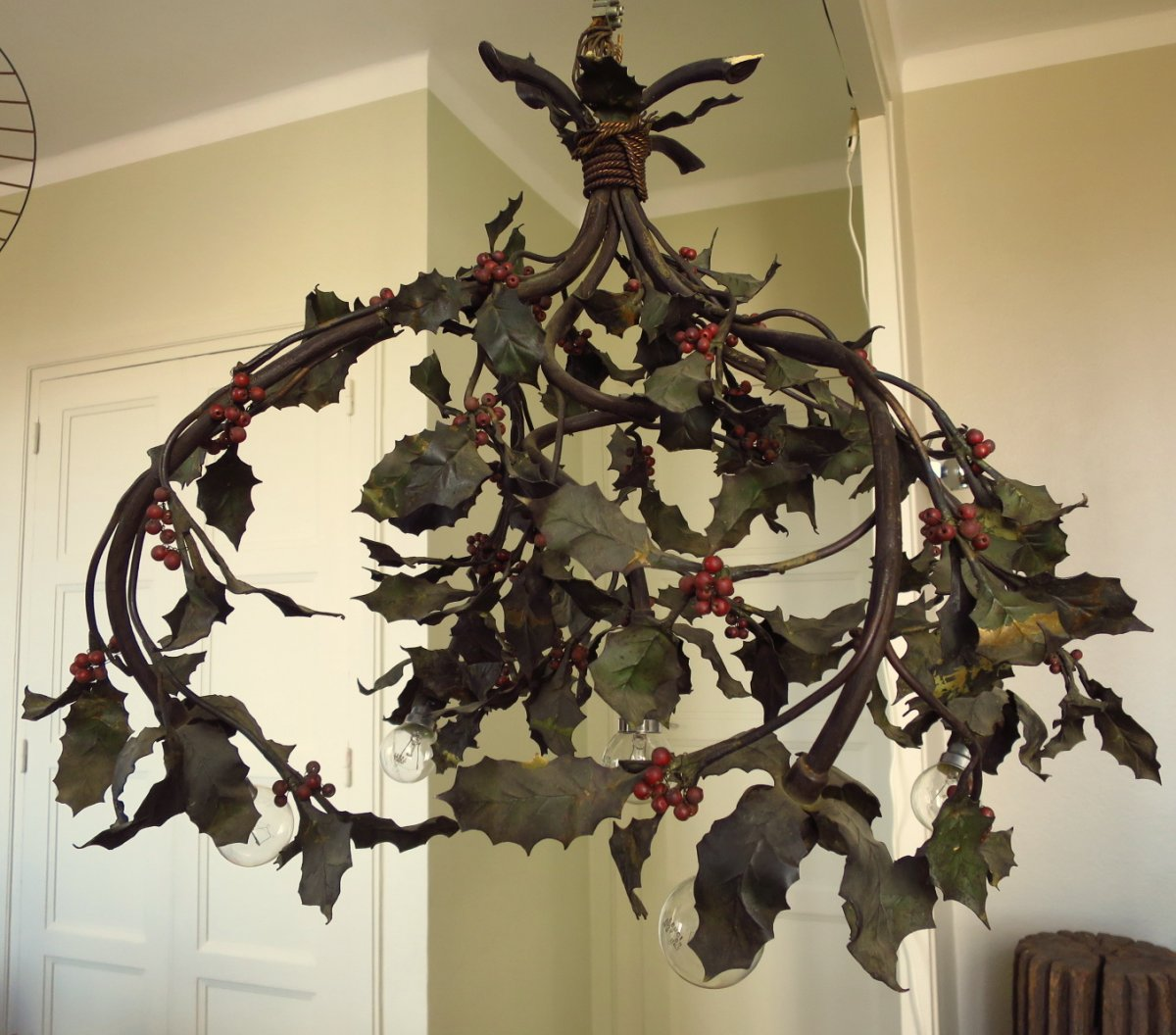 Holly Branches Chandelier, 5 Lights, Around 1900
