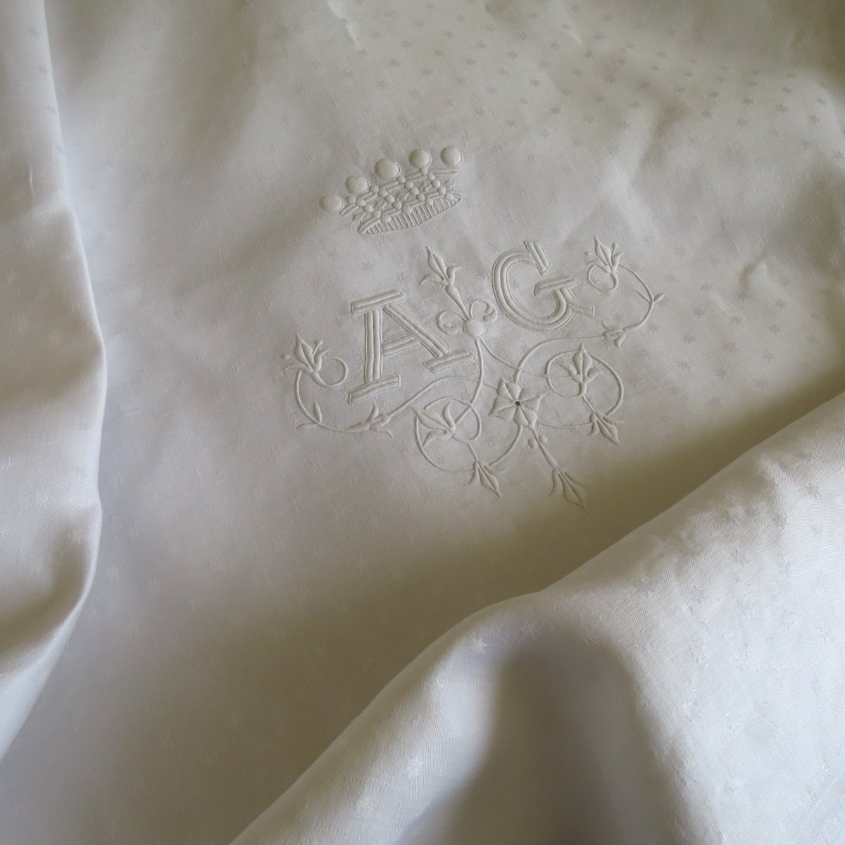 Damask Tablecloth, Late XIXth, Monogrammed Ag, Crown, In Linen