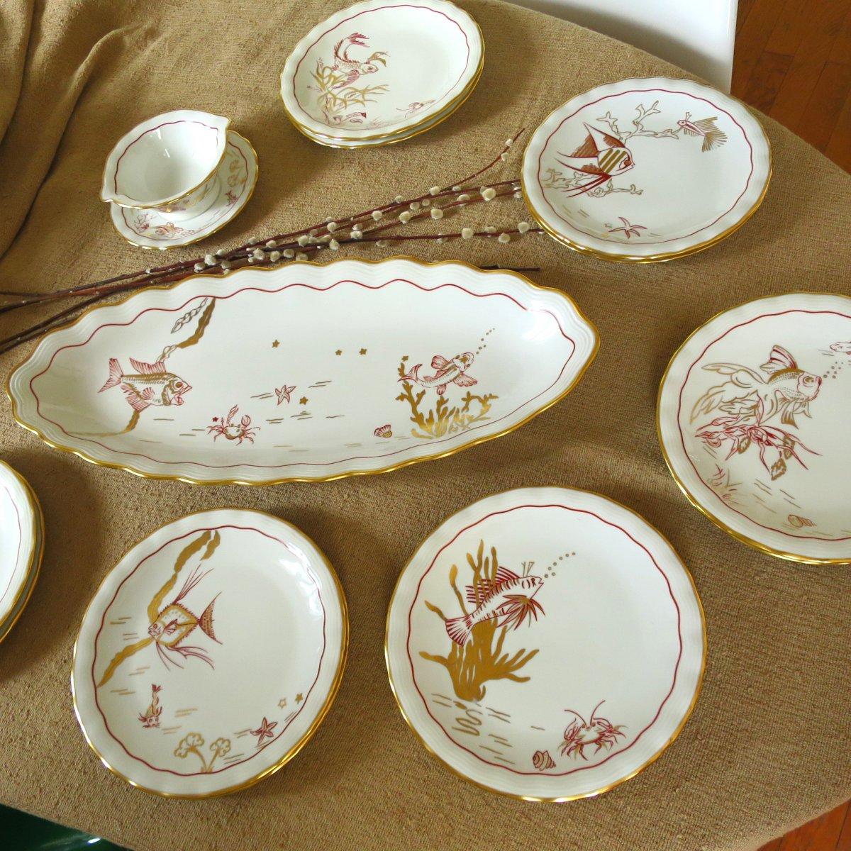 Hand Decorated Limoges Porcelain Fish Service