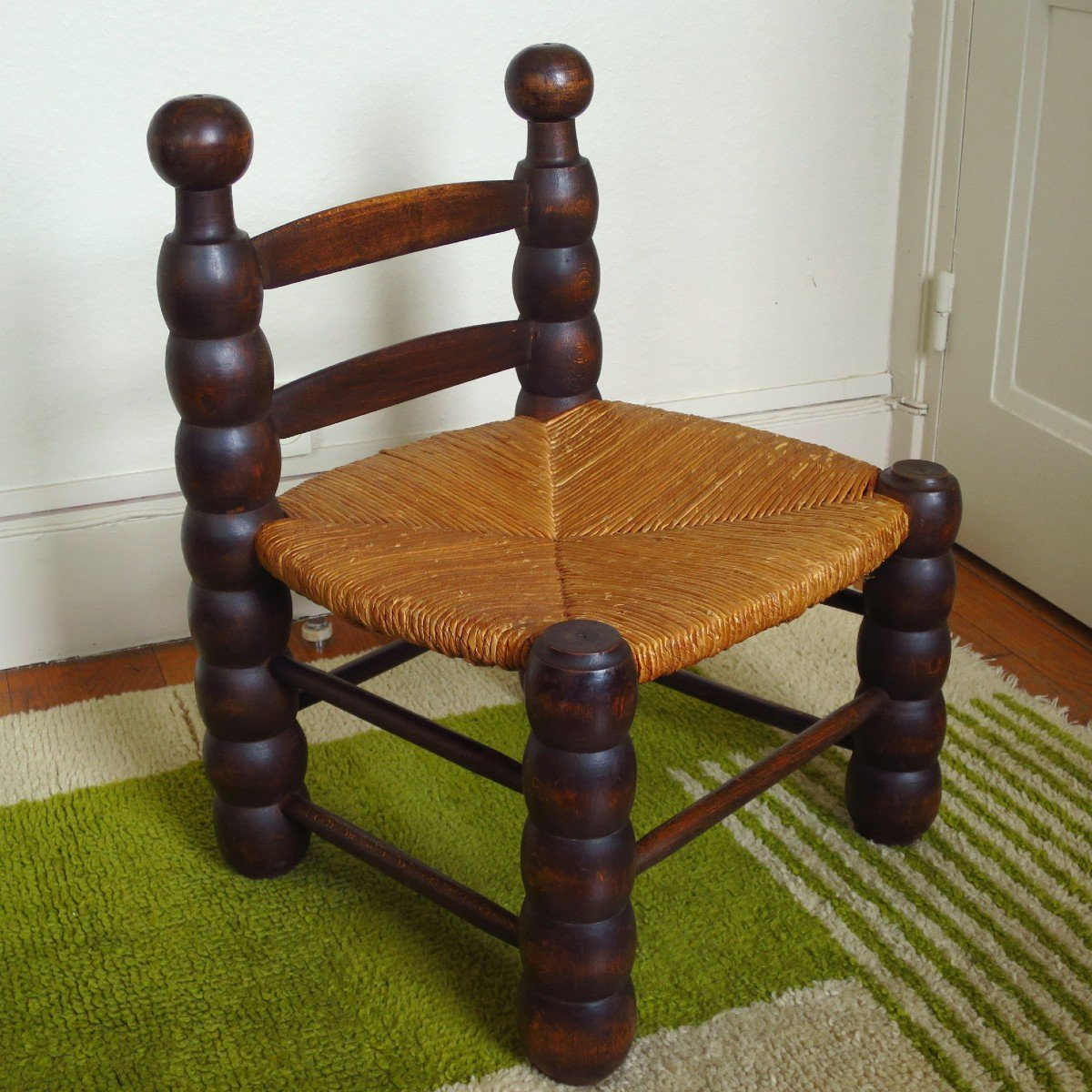 Low Chair Paillée In The Taste Of Charles Dudouyt Around 1960