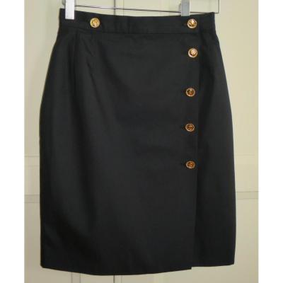 Jupe crayon CHANEL BOUTIQUE noire, coton, taille 32