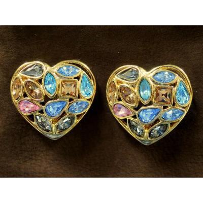 Boucles d'oreilles cœur Yves Saint Laurent à clips, dorées, par Robert Goossens