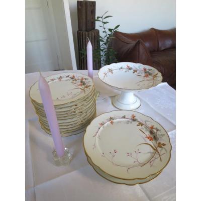 Service à dessert en porcelaine peinte à la main à décor de fleurs