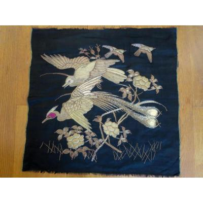 Japanese Embroidery With Bird Decor
