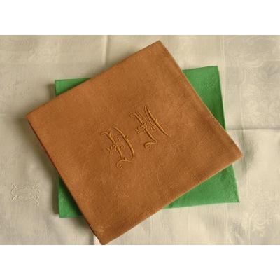 4 serviettes anciennes en lin teintes monogrammées DM