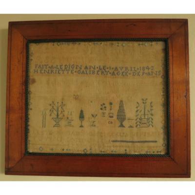 1843 Abecedary Embroidered On Silk Thread On Linen