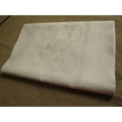 Linen Damask Tablecloth Late Nineteenth Monogrammed Pp