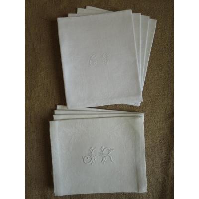 8 serviettes anciennes en lin damassé monogrammées EG et JR vers 1900
