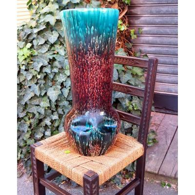Très grand vase ACCOLAY biomorphe bleu et marron moucheté circa 1950