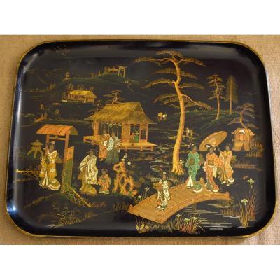Plateau Napoléon III à décor chinoisant, carton bouilli