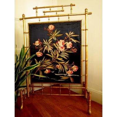 Firewall Napoleon III In Golden Wood Bamboo Way With Flower Embroidery