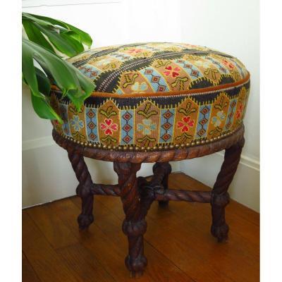 Tabouret Napoléon III à décor de cordage et tapisserie