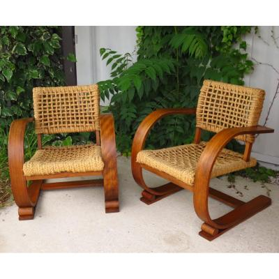 Pair Of Armchairs Audoux Minet By Vibo Circa 1950