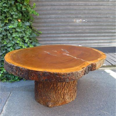 Table de salon brutaliste ovale vers 1960-1970
